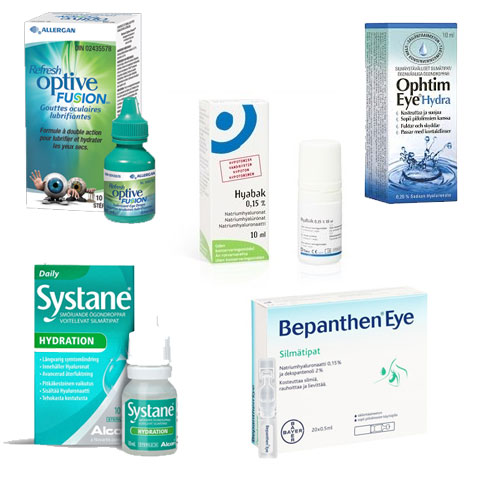 Hyaluronaattia sisältäviä Bepanthen Eye, Hyabak, Ophtim Eye, Optive Fusion, Systane Hydration